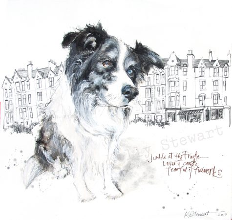 Jumble's owners were in Edinburgh to perform at the festival. Jumble's drawing is a little memory from the time they spent in Marchmont.