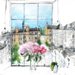 A full watercolour page drawing of the view from a 4th floor flat on Dundonald Street